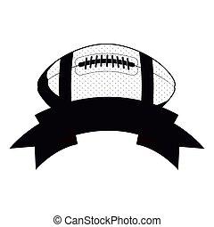 monochrome football ball and ribbon