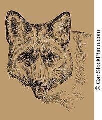 Monochrome Fox vector hand drawing portrait
