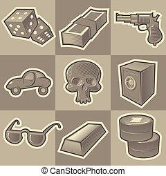 Monochrome gangsta icons - Set of monochrome gangsta retro...