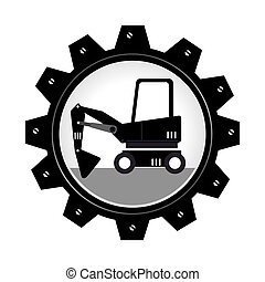 monochrome gear wheel with forklift truck with forks