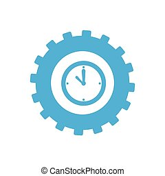 monochrome gear with clock inside