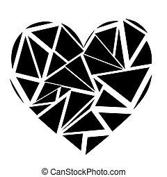 Monochrome Geometric mosaic broken heart shape in black and white
