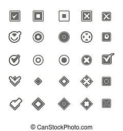 Monochrome geometric symbols of item marking illustrations set