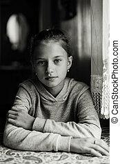 monochrome, girl, house., mignon, portrait, photo.