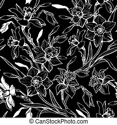 Monochrome graphic seamless pattern with hand drawn flowers daffodils.