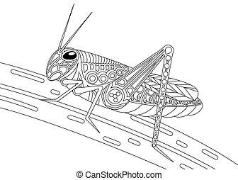 Monochrome grasshopper coloring page black over white.