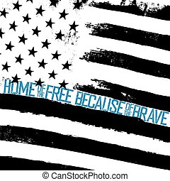 Monochrome grunge american flag background. Patriotic design template. Black and white