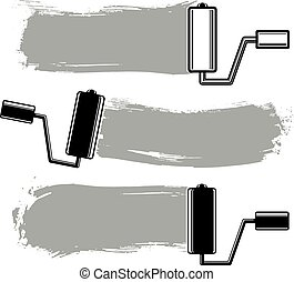 Monochrome grunge brushstrokes, acrylic samples created with paint roller. Wall painting vector conceptual illustration.