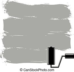 Monochrome grunge brushstrokes, acrylic samples created with paintbrush. Wall painting vector conceptual illustration.