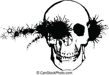 Monochrome grunge illustration - a bullet through a human...