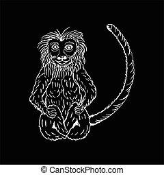 monochrome hand draw a monkey