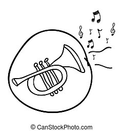 monochrome hand drawing of trumpet in circle and musical notes
