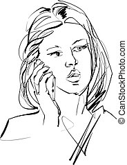 Monochrome hand drawn illustration of a woman with a cell phone.