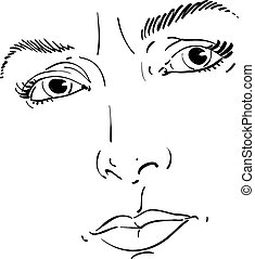 Monochrome hand-drawn portrait of white-skin doubtful woman, face features and emotions theme illustration. Angry lady with wrinkles on her forehead posing on white background.