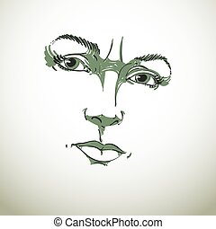 Monochrome hand-drawn portrait of white-skin doubtful woman,...