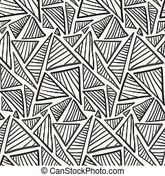 Monochrome hand drawn striped triangles pattern