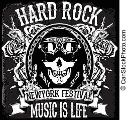 """monochrome hipster vintage label , badge , flayer """" hard rock """" for poster or t-shirt print with skull poster"""