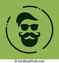 Monochrome hipster with beard, glasses, haircut, mustaches. Silh