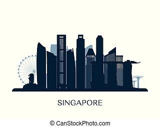 monochrome, horizon, singapour, silhouette.