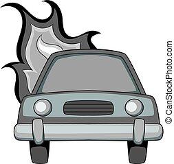 monochrome, icône, voiture brûlée