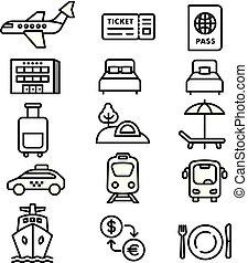 monochrome, icônes voyage