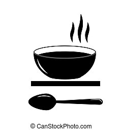 Monochrome illustration of a plate with food and a spoon.