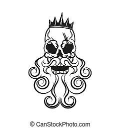 Monochrome illustration of hipster skull