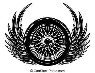 monochrome, illustration, vecteur, roue, ailes