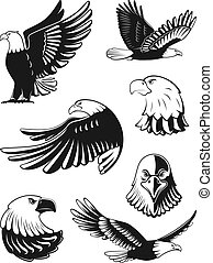 Monochrome illustrations set of eagles. Vector elements for logo, badges or labels design