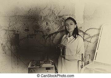 monochrome, image, spectral, tenue femme, boîte, éclaboussé, devant, mur, sanguine, aluminium