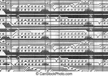 Monochrome industrial circuit board background