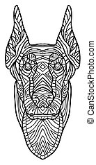 Monochrome ink drawing. Coloring book for adults. The head of a Doberman with pattern.
