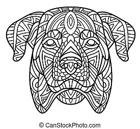 Monochrome ink drawing. Coloring book for adults. The head of a Rottweiler with tribal pattern. Zenart.