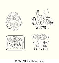 Monochrome insignias for catering companies. Hand drawn vector emblems with salad bowl, wine bottle and glass, pizza and calligraphic text