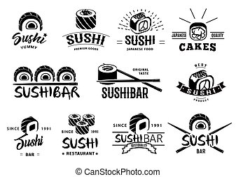Monochrome Japanese Food Labels Set