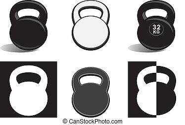 Monochrome kettlebells on white - Monochrome kettlebells...