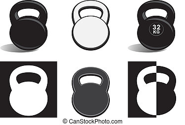 Monochrome kettlebells on white - Monochrome kettlebells...