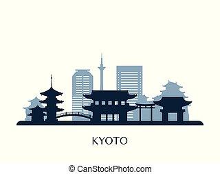 monochrome, kyoto, horizon, silhouette.