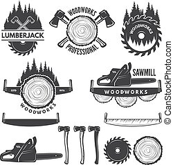 Monochrome labels set with lumberjack and pictures for wood industry. Vector lumberjack logo, industry carpentry and woodwork illustration