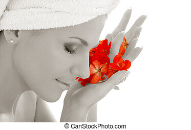 monochrome lady and red petals