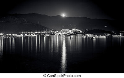 Monochrome landscape of full moon shining over mountains,...