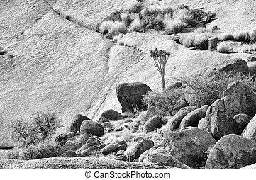 Monochrome landscape, Spitzkoppe, Namibia