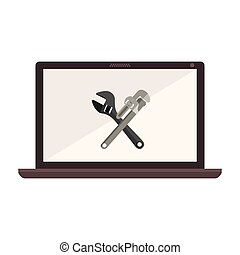 monochrome laptop with crossed wrenches in display vector illustration
