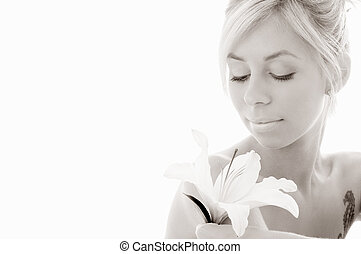 monochrome lily blond - monochrome picture of pretty lady...