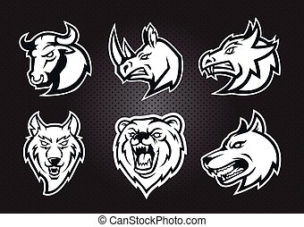 Monochrome logo set : Bull, rhino, wolf, dog, bear , dragon head isolated mascot vector logo concept.