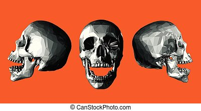 Monochrome low poly skull open jaw on orange background