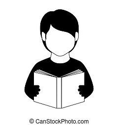 monochrome man half body with book