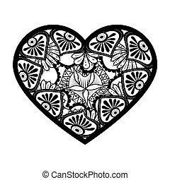 monochrome mandala with heart shape