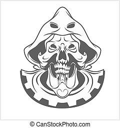 Monochrome Medieval skull isolated on white.