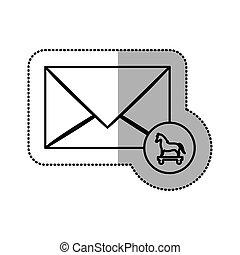 monochrome middle shadow sticker of mail virus trojan horse